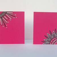 Hot Pink Note Cards - Hand Drawn - Set of 2 - Envelopes included