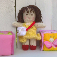 "Hand Knit Waldorf Doll ""Sweet Maryjane"" 8 inch doll with clothes and purse"