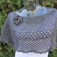 Stone Gray Crochet Shrug, Bolero in Grey Stone, Etsy Fashion