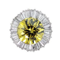 Amazon.com: Fancy Vivid Yellow Round Diamond Ballerina Ring: Jewelry