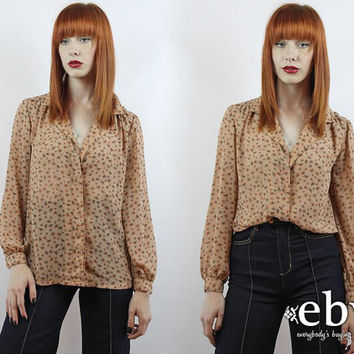 Vintage 70s Nude Semi Sheer Floral Blouse S M Button Up Blouse Nude Blouse Floral Shirt Nude Floral Blouse Secretary Blouse