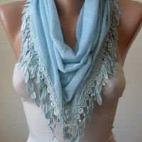 Light  Blue Scarf with Trim Edge - Triangular