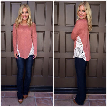Sideline Sweetheart Crochet Top - BRICK