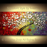 ORIGINAL Large Tree Painting Multicolor White Cherry Blossom Impasto Landscape by Susanna 48x24 Ready to Hang