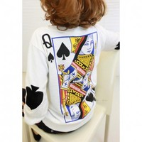 Long Sleeves Round Neck Poker Pattern Print Fleece Women's Sweatshirt (WHITE,ONE SIZE) in Sweatshirts & Hoodies | DressLily.com