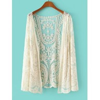Stylish Lace Crochet Flower See-Through Long Sleeve Women's Blouse (OFF-WHITE,ONE SIZE) in Blouses | DressLily.com