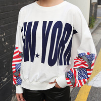 Newyork printed white t shirt, women hoodie, usa flag t shirt, american t shirt, oversize loose fit, sweatshirt