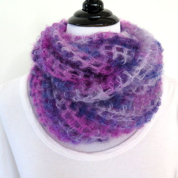 Silk Mohair Cowl, purple hand crochet infinity scarf, Soft Luxury loop scarf, gift under 40