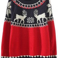 Cute Deer Print Color-Blocked Sweater - OASAP.com