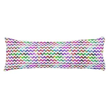 Rainbow Abstract Cloud White Chevron Body Pillow