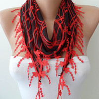 SALE - Red and Black Scarf with Red Trim Edge