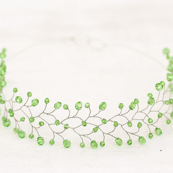 Light green headband, wedding crowns and tiara, citrus green accessories, lime wedding, green bridal head piece, light green tiara, lime