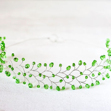 Green hair accessories, Citrus green Crystals Tiara, Silver tiara, Crystal Hair accessory, tiara wedding, Green headband, Сrystals crown