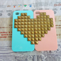 iPhone 4 4S hard Case Cover with Heart-shaped bronze pyramid stud For iPhone 4 Case, iPhone 4S Case,iPhone 4 GS case   -143