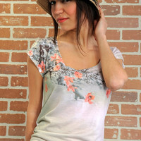Pale pink spring flowers new design women t shirt
