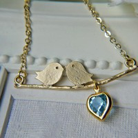 LOVE Birds Necklace. Matte Gold Wit.. on Luulla
