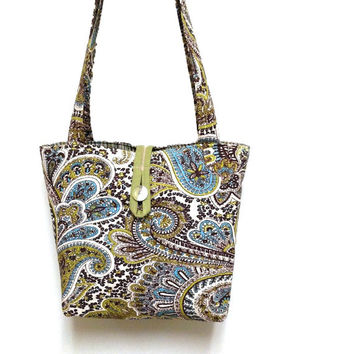 Green fabric handbag, Green paisley purse, Brown paisley purse, Brown shoulder bag, Blue shoulder bag, Blue paisley tote,Green purse paisley