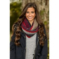 Shades Of Cool Infinity Scarf-Navy/Red