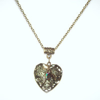 Heart Locket Essential Oil Diffuser Necklace Filigree Antique Brass Aroma Therapy Locket Leaf and Bead Charms Romantic Filigree Heart Locket