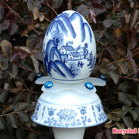 Blue & White Whimsical Egg Garden Stake / Fine Art / Glass Art / Sculpture / Garden Yard Art