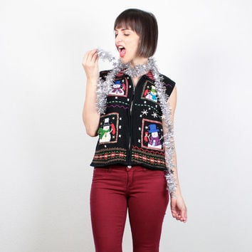 Vintage Tacky Xmas Sweater Vest Black Red Snowman Ugly Christmas Sweater Beaded Holiday Jumper Knit Cardigan Party Vest S Small M Medium