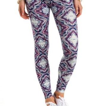 Cotton Paisley Printed Leggings by Charlotte Russe - Turquoise Combo
