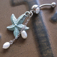 Mint Starfish Belly Button Ring Jewelry Star Fish Turquoise Green Patina Pearl Charm Navel Piercing Bar Barbell