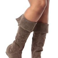 Taupe Faux Suede Fold Over Calf Length Boots @ Cicihot Boots Catalog:women's winter boots,leather thigh high boots,black platform knee high boots,over the knee boots,Go Go boots,cowgirl boots,gladiator boots,womens dress boots,skirt boots.