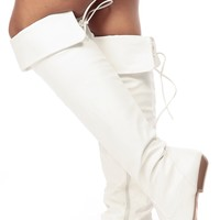 White Faux Leather Over the Knee Boots @ Cicihot Boots Catalog:women's winter boots,leather thigh high boots,black platform knee high boots,over the knee boots,Go Go boots,cowgirl boots,gladiator boots,womens dress boots,skirt boots.