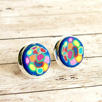 maxx mixx colorful clay silver plated post earrings, 12mm, kaleidoscope, rainbow, faux plug, fake plug, stud