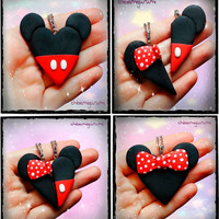 BFF Set - Friendship keychain / necklace / earrings inspired by Mickey and Minnie Mouse heart clay