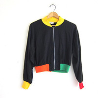 1980s black jacket with color blocking / size M