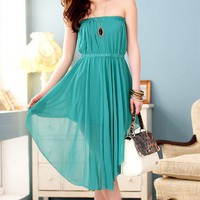 Women Summer Blends Strapless Elastic Waist Pleated Irregular Hem Casual Green One Size Dress@MF3120gr