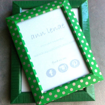 Green Silver or White Polka Dot Picture Frame Tape by AnnLenae
