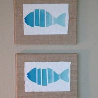 Fish, Abstract Watercolor Painting of Fish Mounted on 8x6 Burlap Board