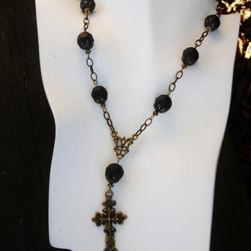 Black necklace, cross necklace, bronze necklace, gothic, rosary. matte black necklace