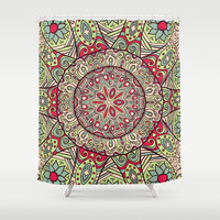 Boho Home Decor Blue, Green & Pink Design Shower Curtain by Cabinet Of Pretty Things