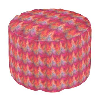 Tie Dyed Glitter Waves Pouf Seat
