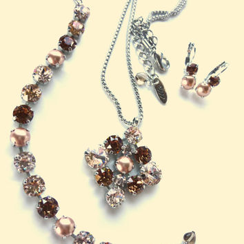 Swarovski crystal square pendant in neutrals, pearls, smoked topaz, silk, jewelry set, designer inspired crystal jewelry