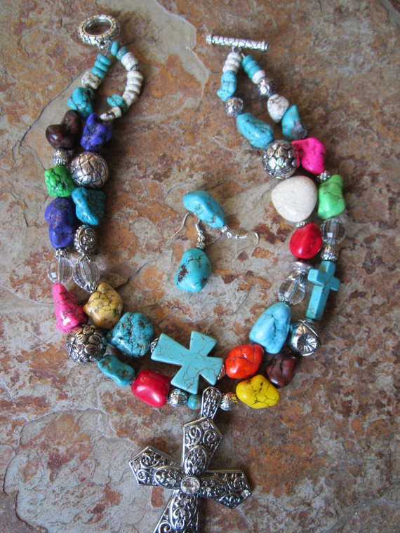 Chunky Cross Multicolored Necklace Double Strand