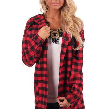 Red and Black Plaid Button Up Hoodie