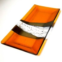 Amber Art Glass Platter, Iridized Gold and Black Accents 7 x 14 Inches