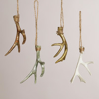 Deer Antler Ornaments, Set of 4