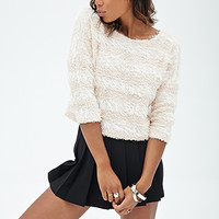 FOREVER 21 Shaggy Knit Textured Sweater Blush