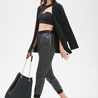 FOREVER 21 Zippered Faux Leather Joggers Black