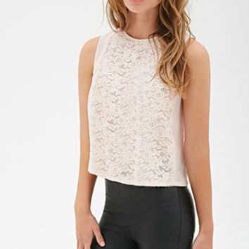 FOREVER 21 Rose Lace Top Light Pink