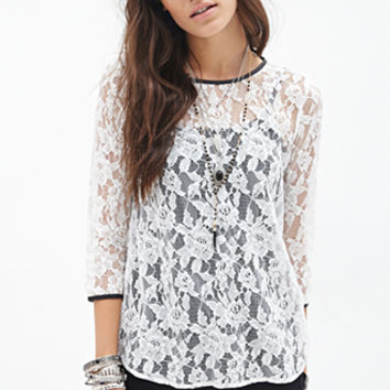 Faux Leather-Trimmed Lace Top