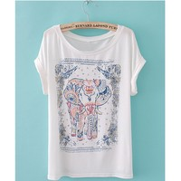 Womens Summer Elephant Print Round Collar Short Sleeve T-Shirt