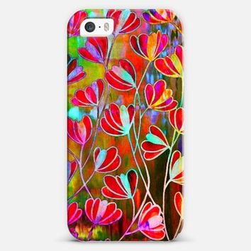 EFFLORESCENCE Technicolor Rainbow Neon Colorful Lime Green Orange Pink Red Aqua Blue Floral Abstract Pattern Watercolor Painting Flowers Art iPhone 5s case by Ebi Emporium | Casetify