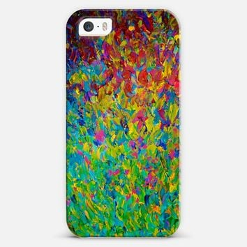 RAINBOW FIELDS - Colorful Ombre Nature Wildflowers Bold Teal Blue Green Emerald Magenta Splash Ocean Waves Seaweed Nature Abstract Painting iPhone 5s case by Ebi Emporium | Casetify